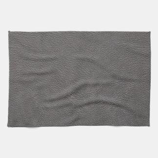 Grey Leather Print Texture Pattern Kitchen Towel