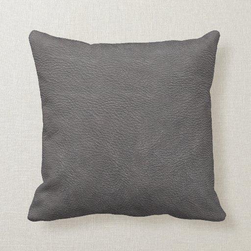 Grey Leather Print Texture Pattern Throw Pillow
