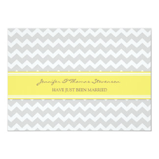 "Grey Lemon Chevron Just Married Announcement Cards 5"" X 7"" Invitation Card"