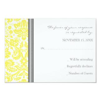 Grey Lemon Damask RSVP Wedding Card