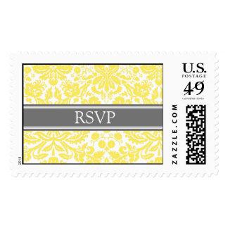 Grey Lemon Damask RSVP Wedding Stamps