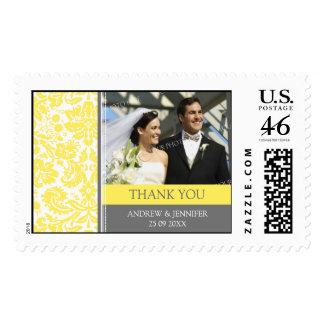 Grey Lemon Damask Thank You Wedding Stamps
