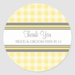 Grey Lemon Gingham Thank You Wedding Favor Tags Classic Round Sticker