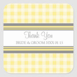 Grey Lemon Gingham Thank You Wedding Favor Tags Square Sticker