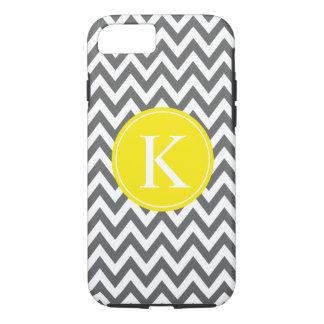 Grey Lemon Yellow Chevron Zigzag Monogram Pattern iPhone 7 Case
