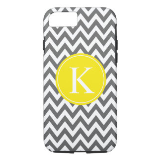 Grey Lemon Yellow Chevron Zigzag Monogram Pattern iPhone 8/7 Case