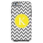 Grey Lemon Yellow Chevron Zigzag Monogram Pattern Tough iPhone 6 Case