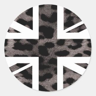 Grey Leopard Fur Pattern Jack British(UK) Flag Classic Round Sticker