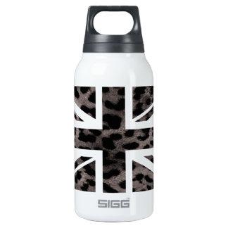 Grey Leopard Fur Pattern Jack British(UK) Flag Insulated Water Bottle