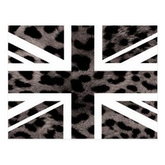 Grey Leopard Fur Pattern Jack British(UK) Flag Postcard