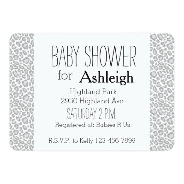 Toddler & Baby themed Grey Leopard Print baby shower Card