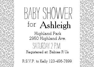 Leopard print baby shower invitations announcements zazzle grey leopard print baby shower invitation filmwisefo