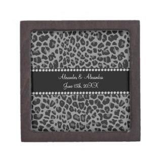 Grey leopard print wedding favors keepsake box