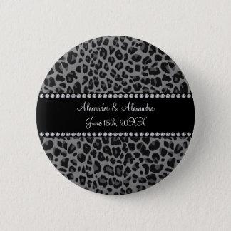 Grey leopard print wedding favors pinback button