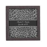 Grey leopard print wedding favors premium trinket boxes