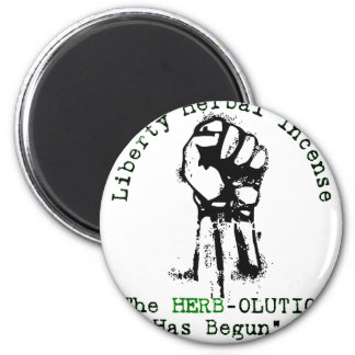 """Grey Liberty Herbal Incense """"Herbolution"""" T- Shirt 2 Inch Round Magnet"""