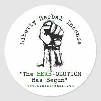 """Grey Liberty Herbal Incense """"Herbolution"""" T- Shirt Classic Round Sticker"""