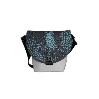 Grey & Light Blue Shagreen Messenger Bag