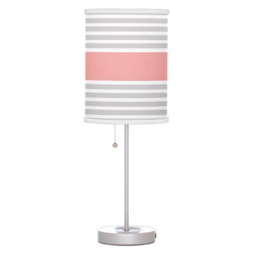 Grey & Light Coral Stripe Pattern Table Lamp