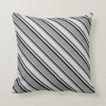 [ Thumbnail: Grey, Light Grey, and Black Colored Lined Pattern Throw Pillow ]