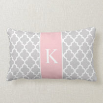 Grey Light Pink Moroccan Custom Monogram Lumbar Pillow