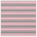 [ Thumbnail: Grey & Light Pink Striped Pattern Fabric ]