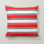 [ Thumbnail: Grey, Light Slate Gray, Red, Mint Cream, and Black Throw Pillow ]