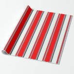 [ Thumbnail: Grey, Light Slate Gray, Red, Mint Cream, and Black Wrapping Paper ]