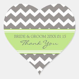 Grey Lime Chevron Thank You Wedding Favor Tags Heart Sticker