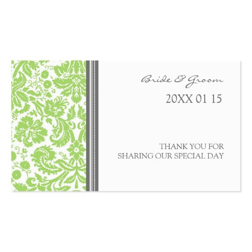 Grey Lime Damask Wedding Favor Tags Business Card Template