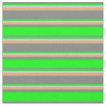 [ Thumbnail: Grey, Lime, Light Blue & Brown Lines Pattern Fabric ]
