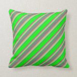 [ Thumbnail: Grey, Lime, Light Blue & Brown Lines Pattern Throw Pillow ]
