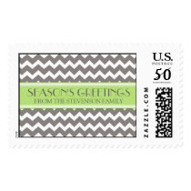 Grey Lime Season's Greetings Custom Name Stamps