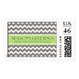 Grey Lime Season's Greetings Custom Name Stamps