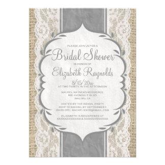 Grey Linen Burlap & Lace Bridal Shower Invitations Custom Announcement