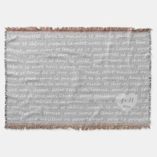 Grey Linen Burlap Look with French Wedding Vows Throw