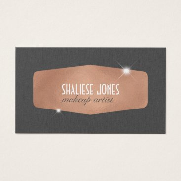 Professional Business Grey Linen & Rose Gold : Business Card