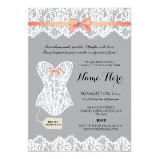 Grey Lingerie Shower Bridal Coral Corset Invites