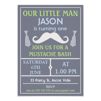 Grey Little Gentleman Mustache Birthday Invitation