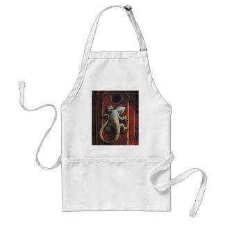 grey lizard on worn wood adult apron
