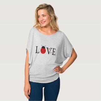 Grey 'Love' Ladybugs Batwing style T-Shirt