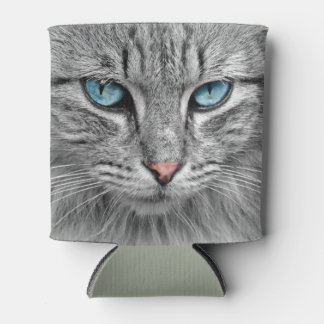 Grey mackerel tabby cat with blue eyes can cooler