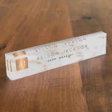 Grey marble gold steel copper metallic monogram name plate