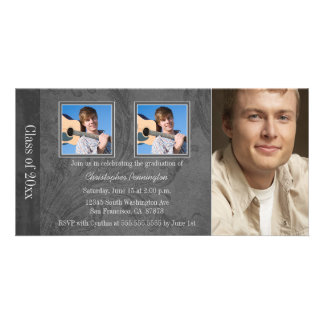 Grey marble swirl 3 photo graduation announcement