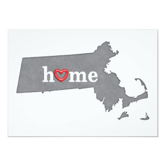 Grey MASSACHUSETTS Home & Open Heart Card