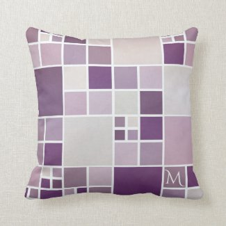 Grey Mauve Monogram Mosaic Pattern Pillow