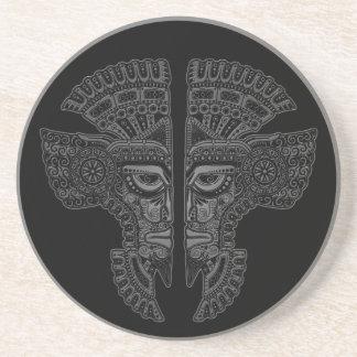 Grey Mayan Twins Mask Illusion on Black Beverage Coaster