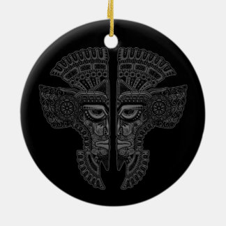 Grey Mayan Twins Mask Illusion on Black Double-Sided Ceramic Round Christmas Ornament