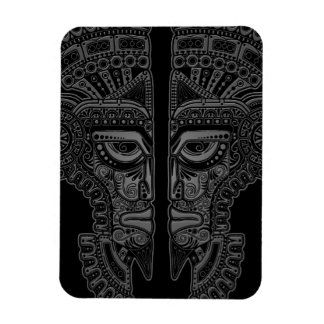 Grey Mayan Twins Mask Illusion on Black Rectangle Magnets
