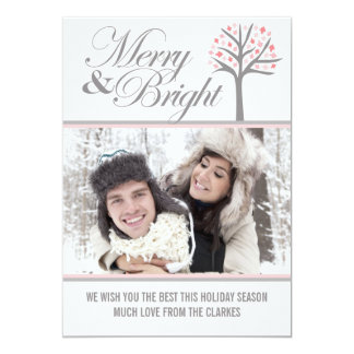 Grey Merry & Bright Tree  Holiday Photo Card Personalized Announcements